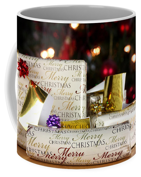 Anniversary Coffee Mug featuring the photograph Wrapped Gifts With Tags by Simon Bratt Photography LRPS
