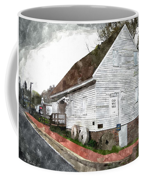 2d Coffee Mug featuring the photograph Wye Mill - Water Color Effect by Brian Wallace