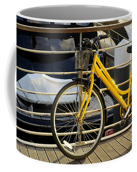 Activity Coffee Mug featuring the photograph Yellow Bicycle by Carlos Caetano