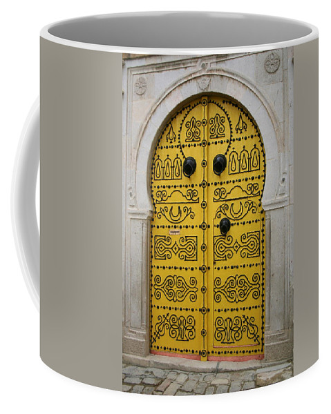 Yellow Coffee Mug featuring the photograph Yellow Door In Bardo by Laurel Talabere