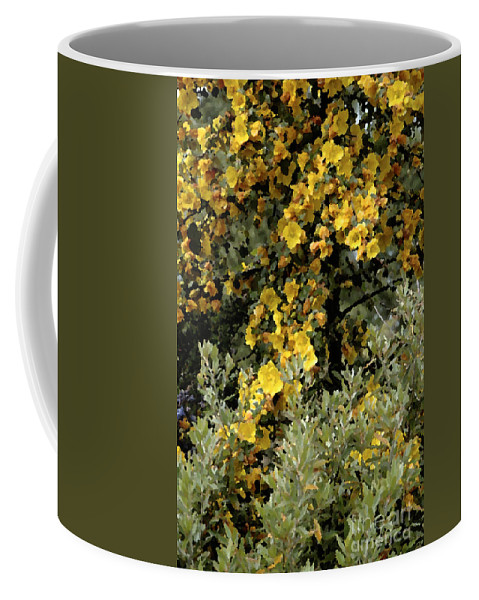 Photo Coffee Mug featuring the photograph Yellow Flowers On Tree by Mike Nellums