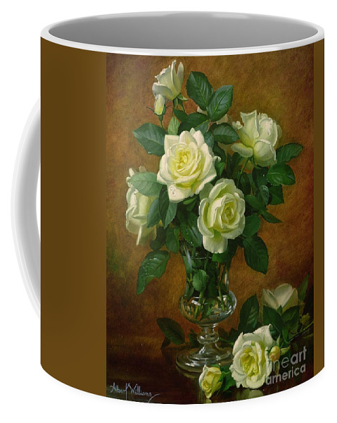 Rose; Still Life; Flower; Arrangement; Glass; Vase; Pale; Floral; Sentimental; Symbolic; Roses; Flowers; Yellow Roses; Leafs; Yellow Roses On Floor Coffee Mug featuring the painting Yellow Roses by Albert Williams