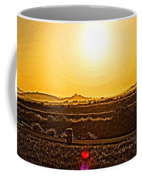 Landscape Coffee Mug featuring the photograph Yellow Sun by Priscilla De Mesa
