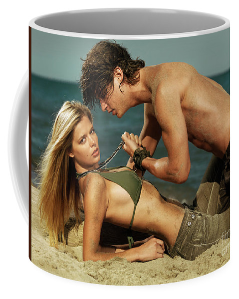 Love Coffee Mug featuring the photograph Young Couple On The Beach by Oleksiy Maksymenko