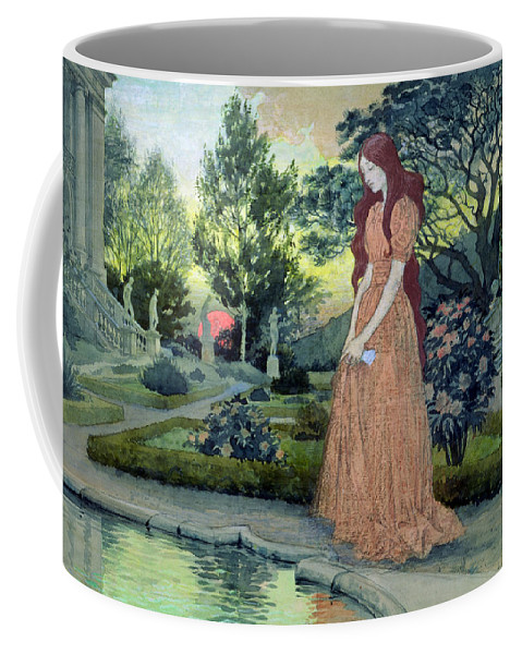 Sunset; Formal; Statues; Pool; Rose Bushes; Sad; Mournful; Paths; Landscape; Forlorn Coffee Mug featuring the painting Young Girl In A Garden by Eugene Grasset