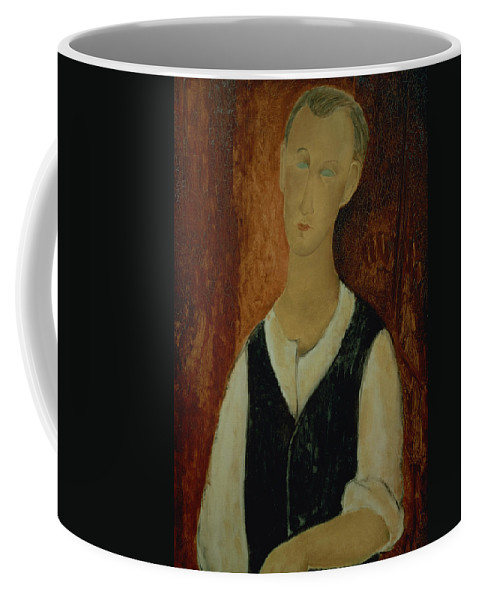 Portrait; Male; Elongation; Blue Eyes Coffee Mug featuring the painting Young Man With A Black Waistcoat by Amedeo Modigliani