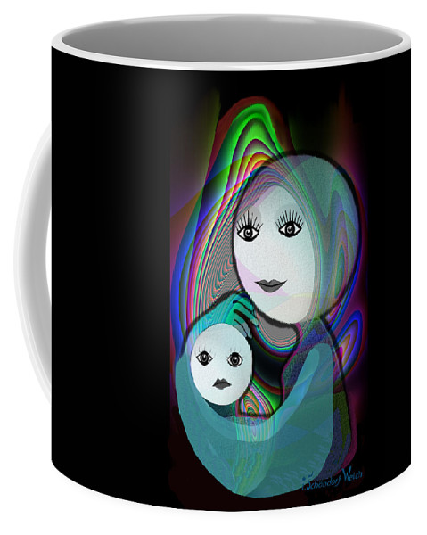 Mother And Child Coffee Mug featuring the painting 044 - Full Moon Mother And Child  by Irmgard Schoendorf Welch