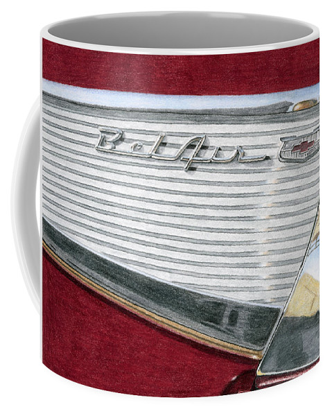 Classic Coffee Mug featuring the drawing 1957 Chevrolet Bel Air Convertible by Rob De Vries