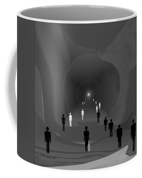 Tunnel Coffee Mug featuring the painting 249 - The Light At The End Of The Tunnel  by Irmgard Schoendorf Welch