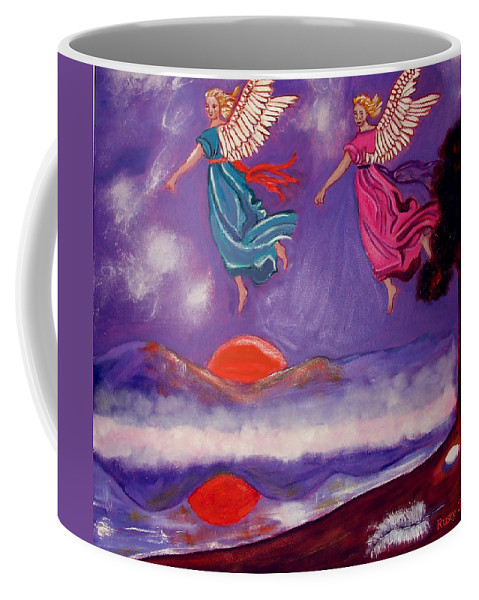 Angels Coffee Mug featuring the painting A Feather From The Breath Of God by Rusty Gladdish