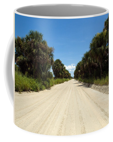 Florida; Road; Back; Backroad; Central; Dirt; Plow; Plowed; Clay; Mud; Muddy; Places; Unknown; Trave Coffee Mug featuring the photograph Back Road In Central Florida. by Allan Hughes