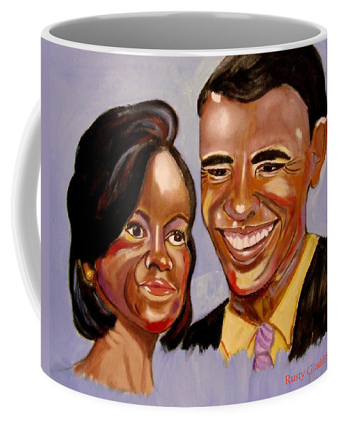 Obama Coffee Mug featuring the painting Barak And Michelle Obama  The Power Of Love by Rusty Gladdish