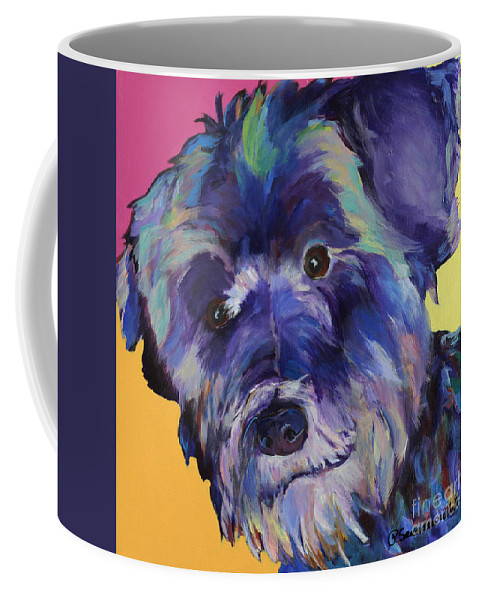 Schnauzer Acrylic Painting Coffee Mug featuring the painting Beau by Pat Saunders-White