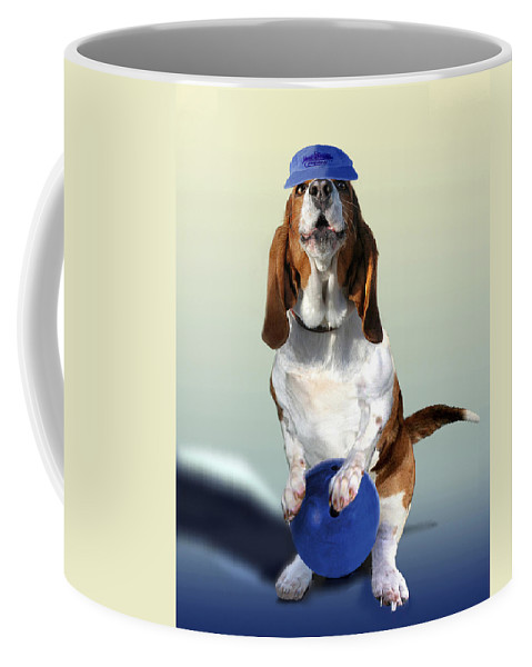 Animal Coffee Mug featuring the painting Bowling Hound by Regina Femrite