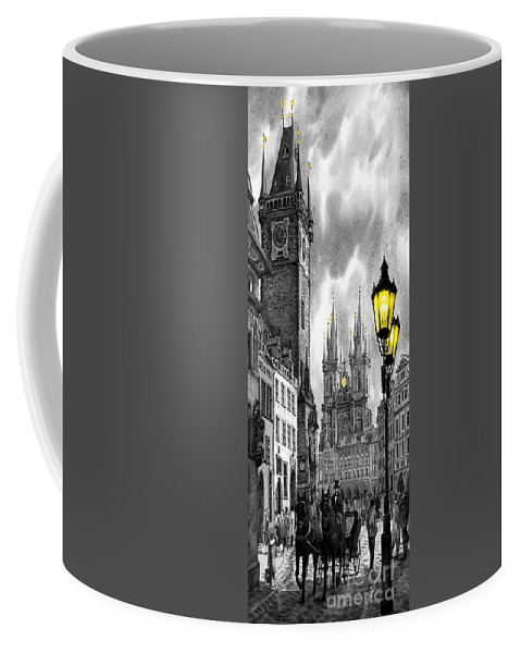 Geelee.watercolour Paper Coffee Mug featuring the painting Bw Prague Old Town Squere by Yuriy Shevchuk