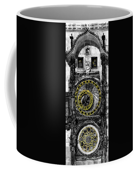 Geelee.watercolour Paper Coffee Mug featuring the painting Bw Prague The Horologue At Oldtownhall by Yuriy Shevchuk