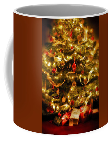 Victorian Christmas Tree Xmas Baubles Gifts Presents Decorations Ribbon Pine Needles Fairy Lights Coffee Mug featuring the photograph Christmas Tree by Mal Bray