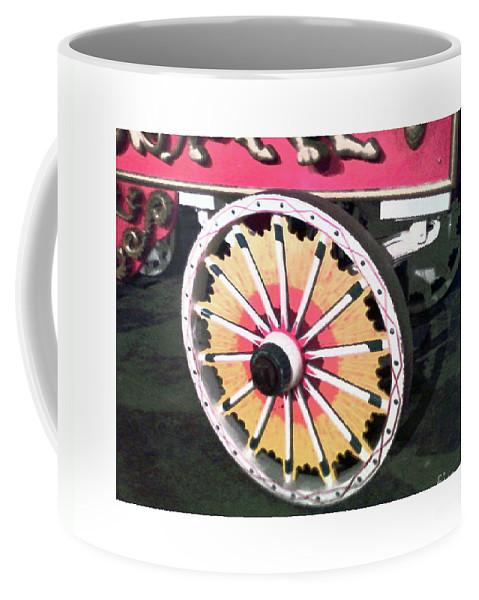 Art Coffee Mug featuring the digital art Circus Wagon Wheel by Karen Francis