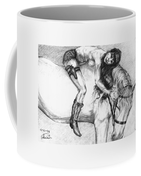 Cowgirl Coffee Mug featuring the drawing Cowgirl Riding A Hourse by Alban Dizdari