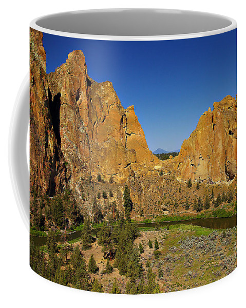 Oregon Coffee Mug featuring the photograph Crooked River at Smith Rock State Park Oregon by Rich Walter