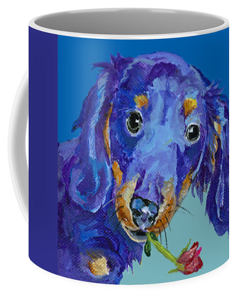 Mini Painting Coffee Mug featuring the painting  Dach by Pat Saunders-White