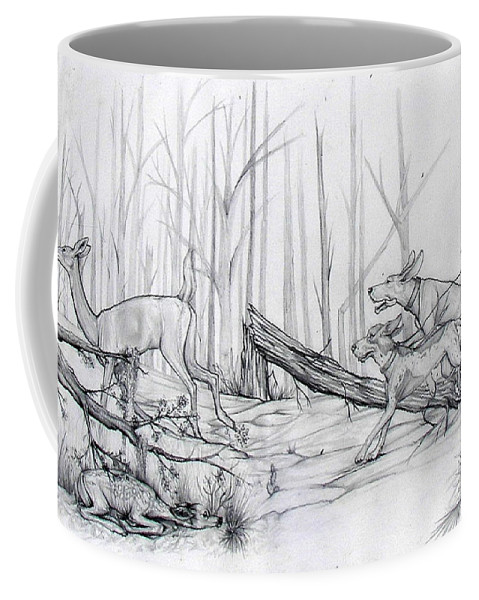 Deer Coffee Mug featuring the drawing Desperate Diversion by Monica Turner