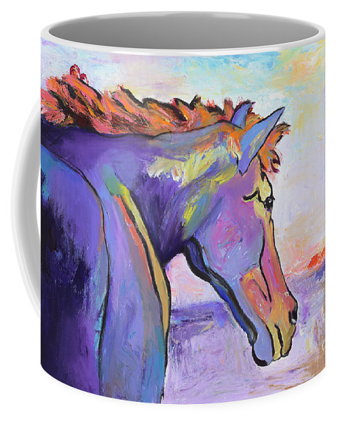 Purple Horse Coffee Mug featuring the painting Frosty Morning by Pat Saunders-White