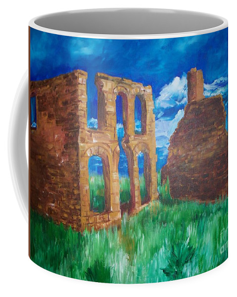 Western_landscapes Coffee Mug featuring the painting Ghost Town by Eric Schiabor