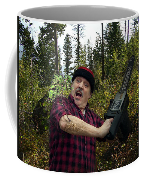 Surrealism Fantastic+realism Cloning Parasites Lumberjack Chainsaw Selfportrait Coffee Mug featuring the digital art I Am A Lumberjack I Am Ok by Otto Rapp