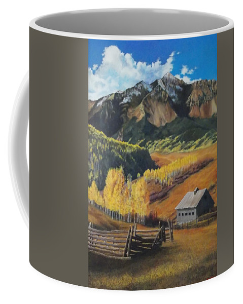 Colorado Rockies Coffee Mug featuring the painting I Will Lift Up My Eyes To The Hills Autumn Nostalgia Wilson Peak Colorado by Anastasia Savage Ealy