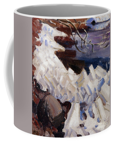 Akseli Gallen-kallela Coffee Mug featuring the painting Ice Breaking On The Shores Of Kalela by Celestial Images