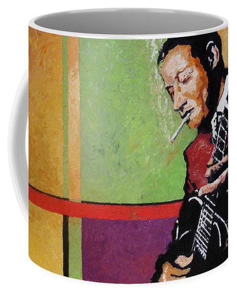 Jazz Coffee Mug featuring the painting Jazz Guitarist by Yuriy Shevchuk