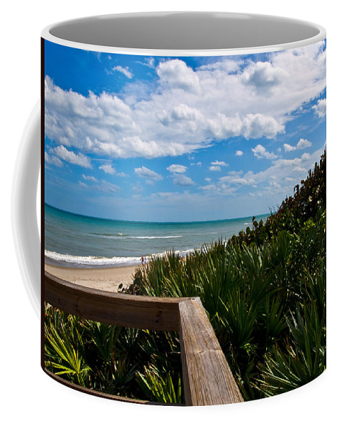 Beach; February; Florida; Warm; Warmth; Temperature; Degrees; Weather; Sun; Melbourne; Sand; Shore; Coffee Mug featuring the photograph Melbourne Beach On The East Coast Of Florida by Allan Hughes