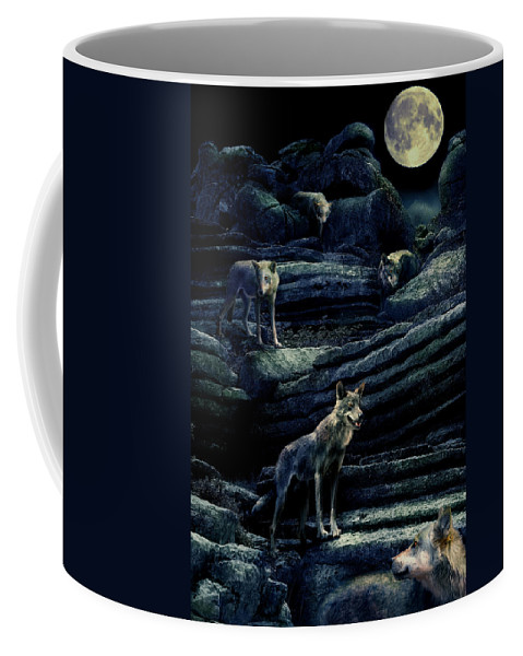 Wolf Coffee Mug featuring the photograph Moonlit Wolf Pack by Mal Bray