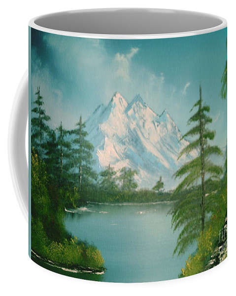 Lake Coffee Mug featuring the painting Mountain High by Jim Saltis