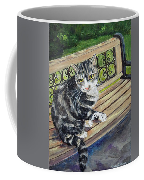 Cat Coffee Mug featuring the painting Nap Time For Baby by Trisha Calabrese
