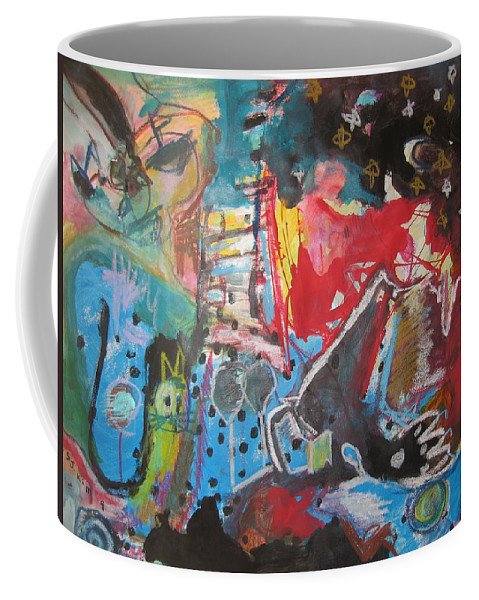 Original Coffee Mug featuring the painting Patty's Harbour Original Abstract Colorful Landscape Painting For Sale Blue Green Red by Seon-Jeong Kim