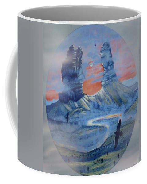 Ravens Coffee Mug featuring the painting Raven's View Of Chimney Rock Colorado by Anastasia Savage Ealy