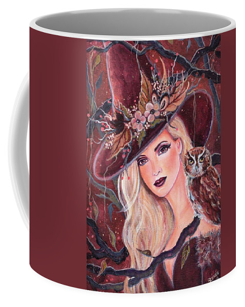 Witch halloween Witch  Owl In The Forest acrylic On Canvas renee L Lavoie fantasy Portrait Modern Art Coffee Mug featuring the painting Rhiamon. by Renee Lavoie