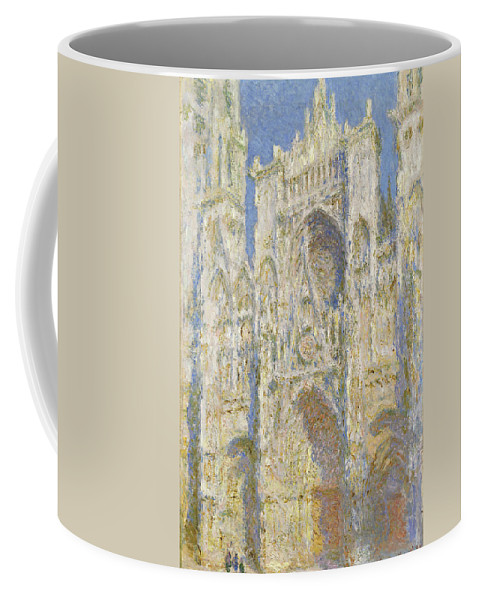Rouen Coffee Mug featuring the painting Rouen Cathedral West Facade Sunlight by Claude Monet