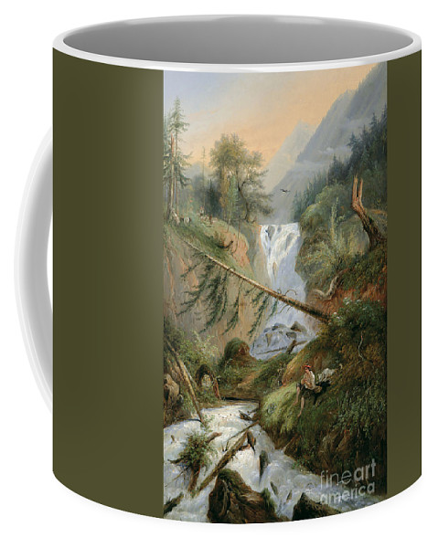 Alexandre Calame Coffee Mug featuring the painting Shepherd Resting By The Waterfall by Celestial Images