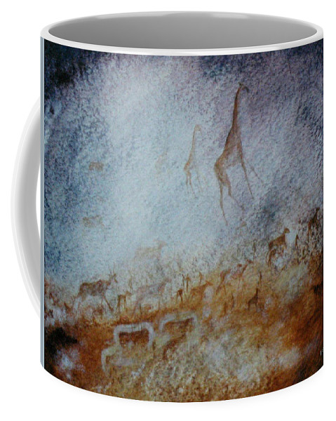 Cave Painting Coffee Mug featuring the painting South African Pertroglyph by Elaine Booth-Kallweit