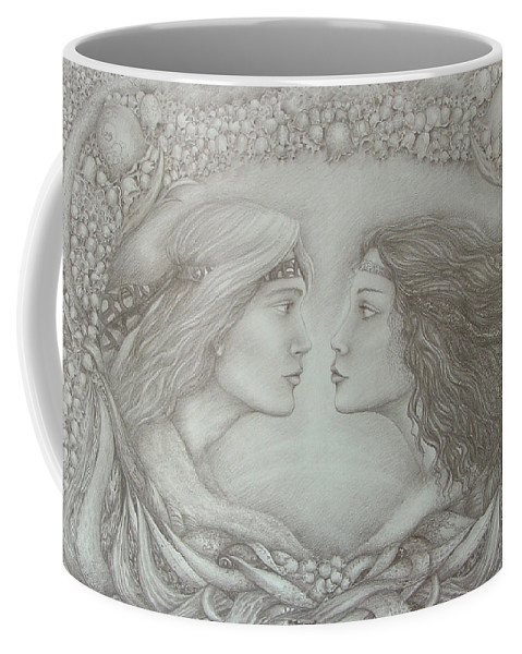 Love Coffee Mug featuring the drawing Spring Lovers With Snowdrops by Rita Fetisov