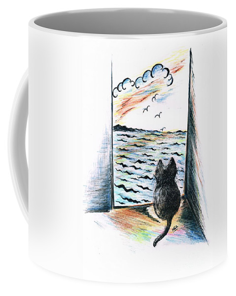 Teresa White Coffee Mug featuring the drawing Cat's- Sweet View by Teresa White