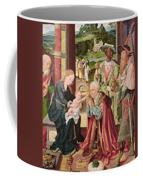 The Adoration Coffee Mug featuring the painting The Adoration Of The Magi by Joos van Cleve