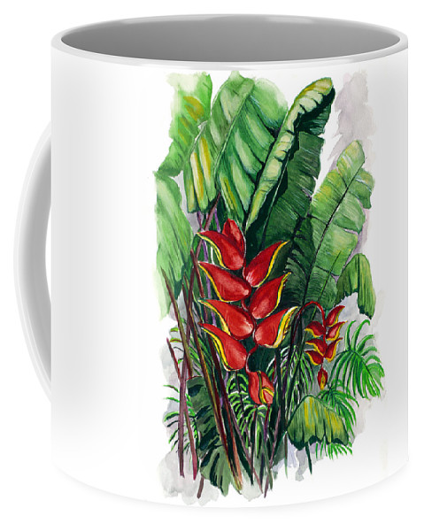 Heliconia Painting Rainforest Painting Musa Painting Botanical Painting Flower Painting Floral Painting Greeting Card Painting Tropical Painting Caribbean Painting Island Painting Red Painting Coffee Mug featuring the painting Tiger Claw .. Heliconia by Karin Dawn Kelshall- Best