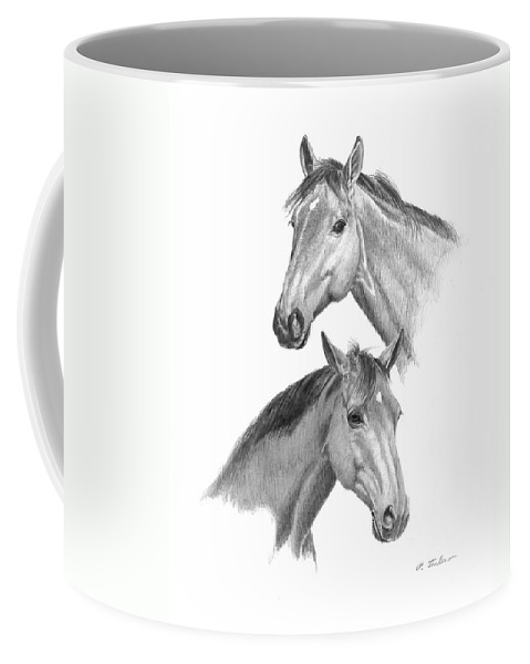 Graphite Drawing Coffee Mug featuring the drawing Two Horses Heads by Phyllis Tarlow