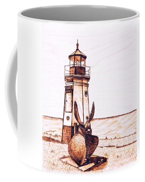 Lighthouse Coffee Mug featuring the pyrography Vermilion Lighthouse by Danette Smith