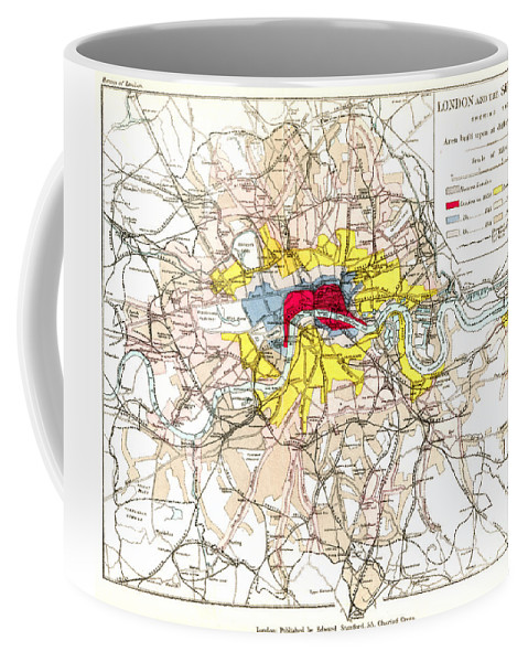 1881 Coffee Mug featuring the painting Map Of London, 1881 by Granger