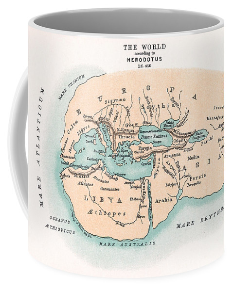 450 B.c. Coffee Mug featuring the painting World Map by Granger